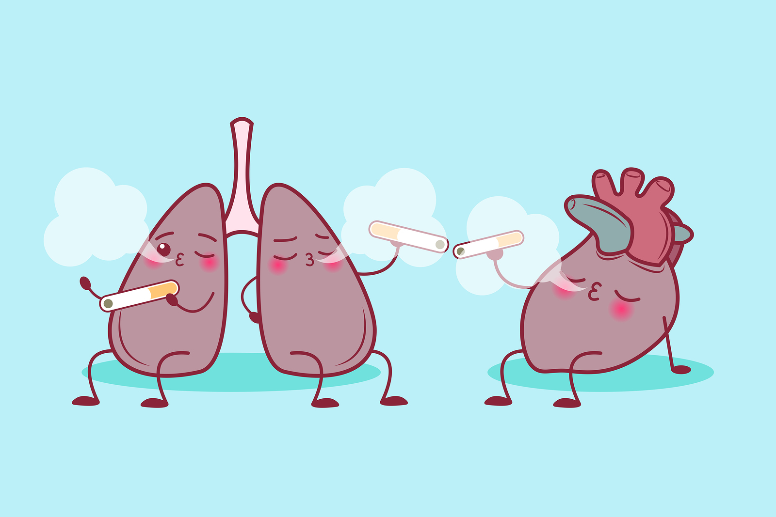 Cute Cartoon Lung And Heart Enjoy Smoke Gracie Raleigh Self Defense Classes Mma Martial Arts And More